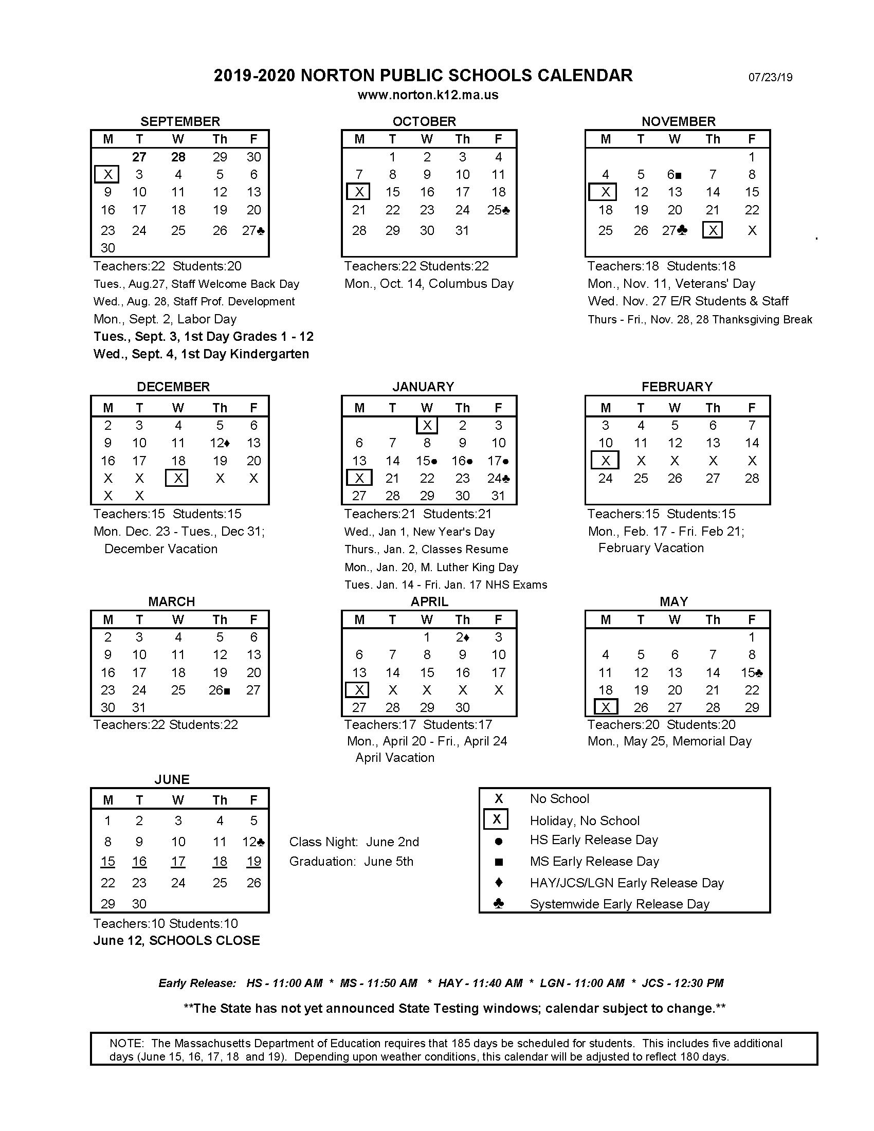 Printable School Calendar - Norton School District