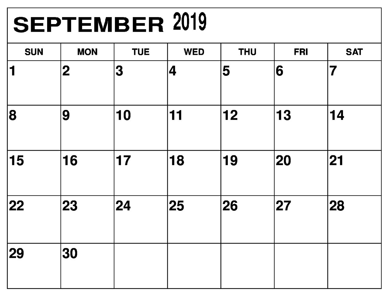 Printable September 2019 Calendar Pinterest | Free Printable