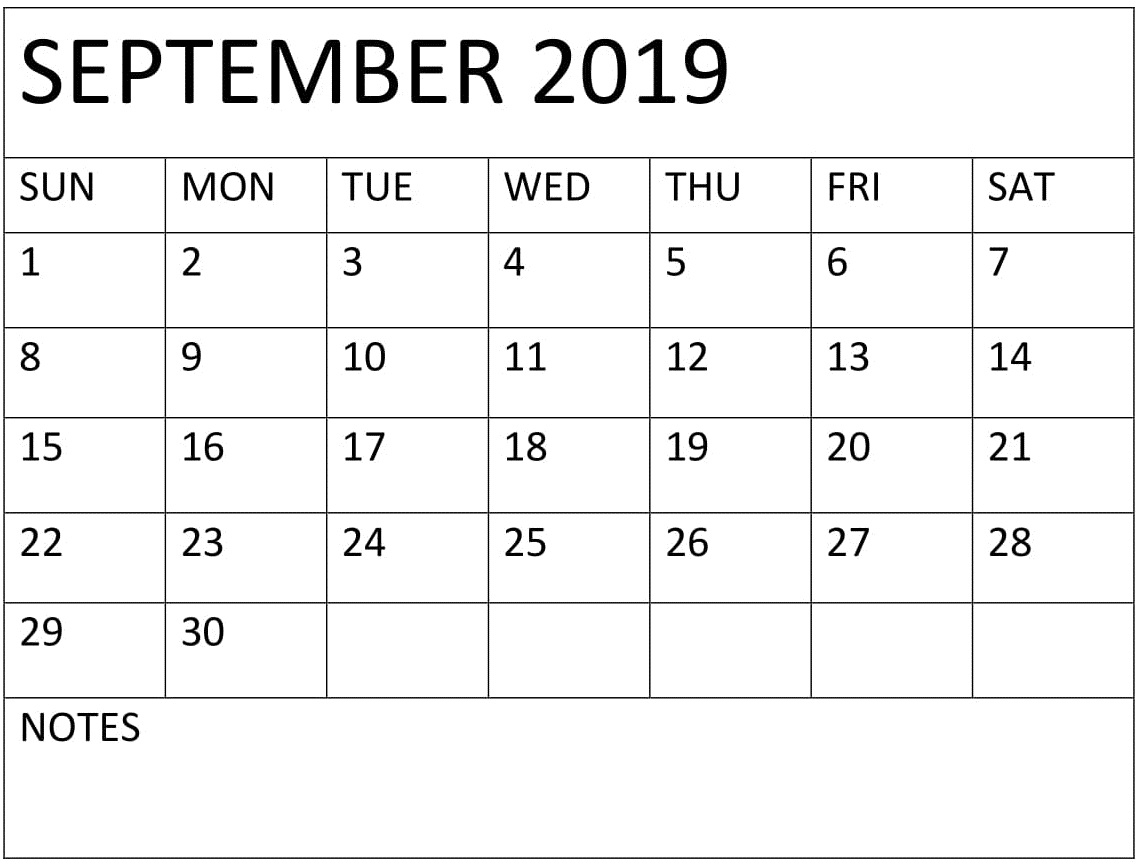 Printable September 2019 Pocket Calendar – Free Latest
