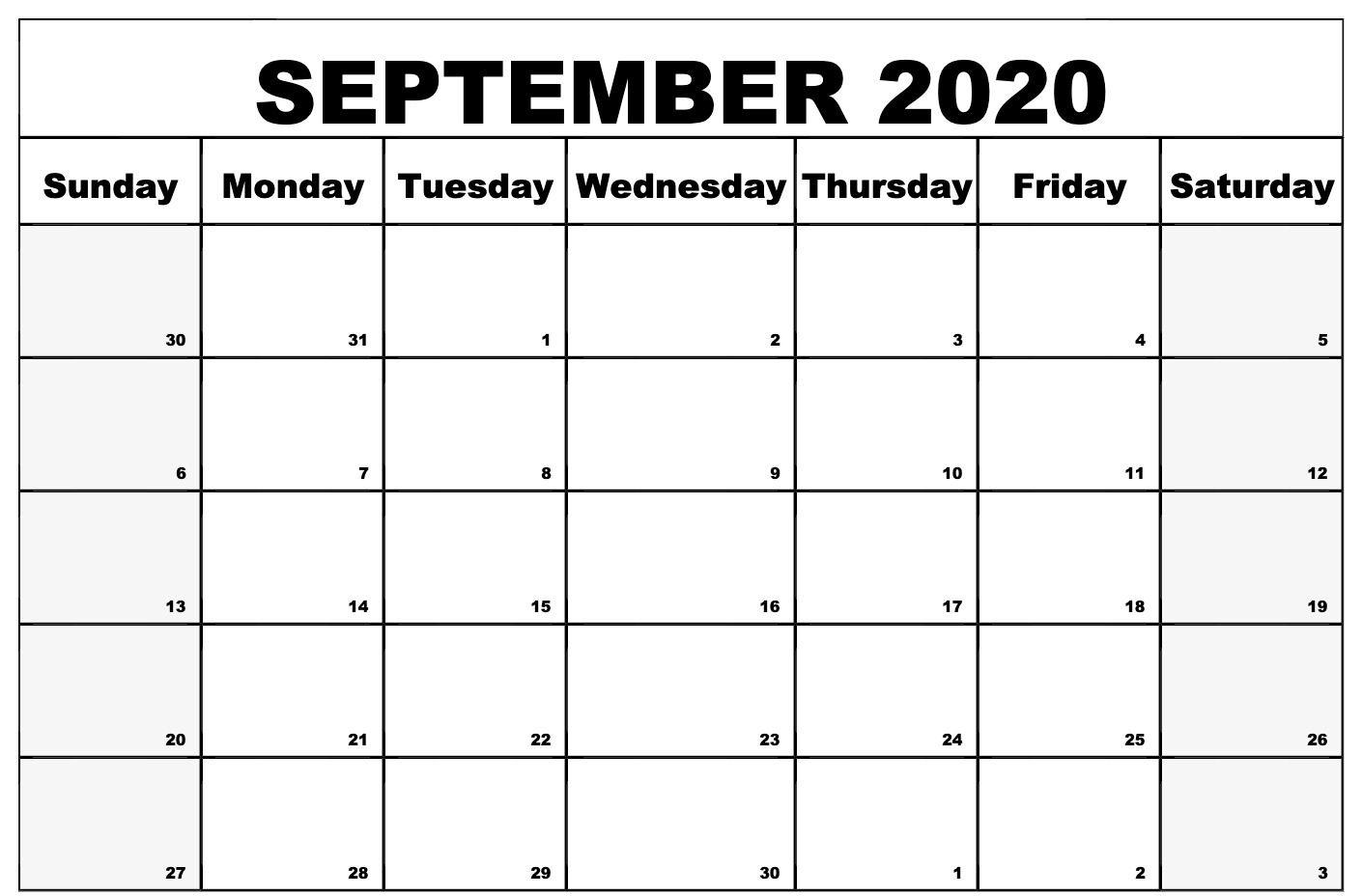 Printable September 2020 Calendar Blank Template | September