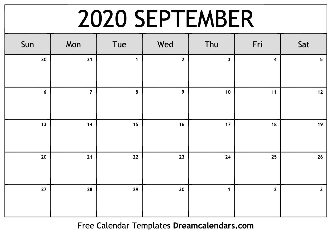 Printable September 2020 Calendar - Togo.wpart.co
