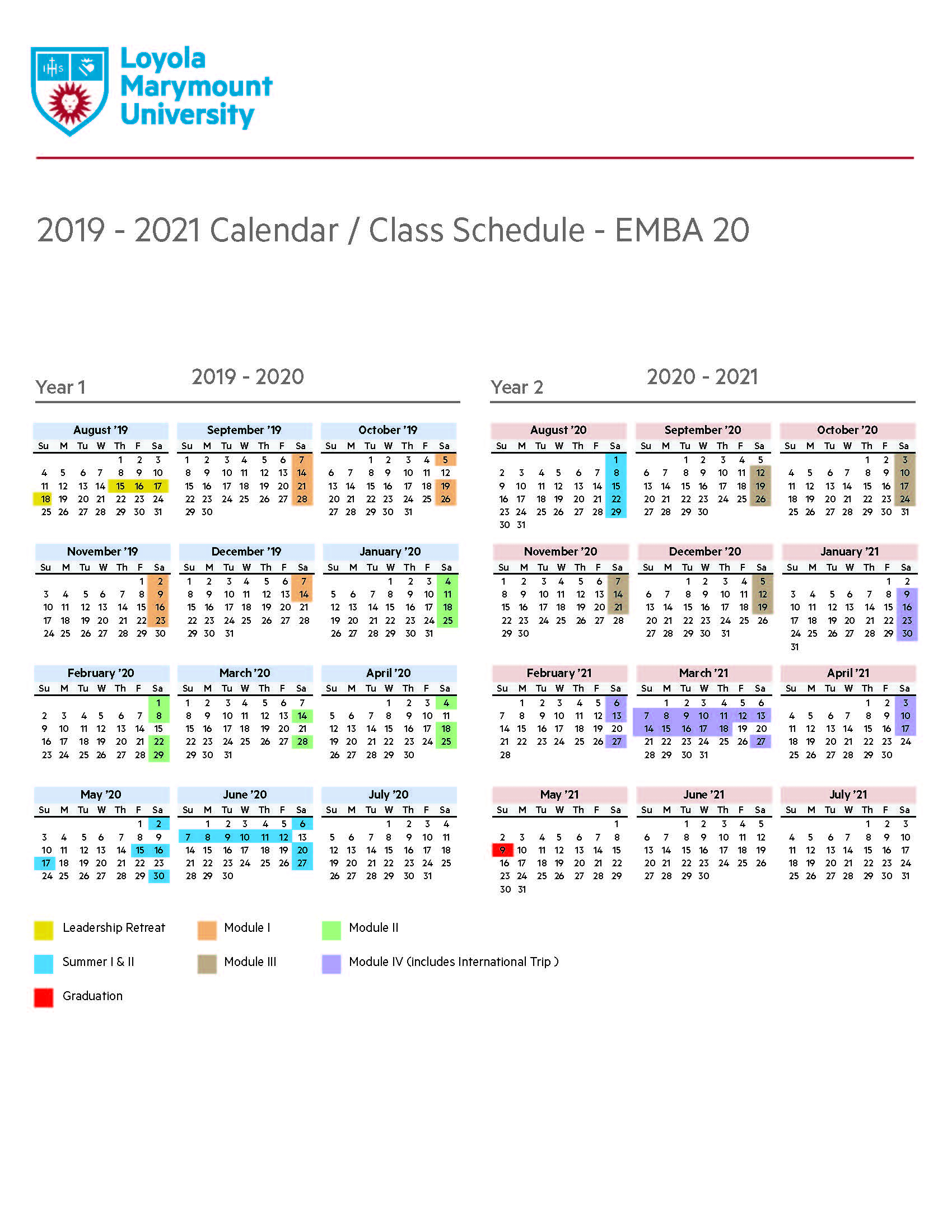 Program Calendar - Loyola Marymount University