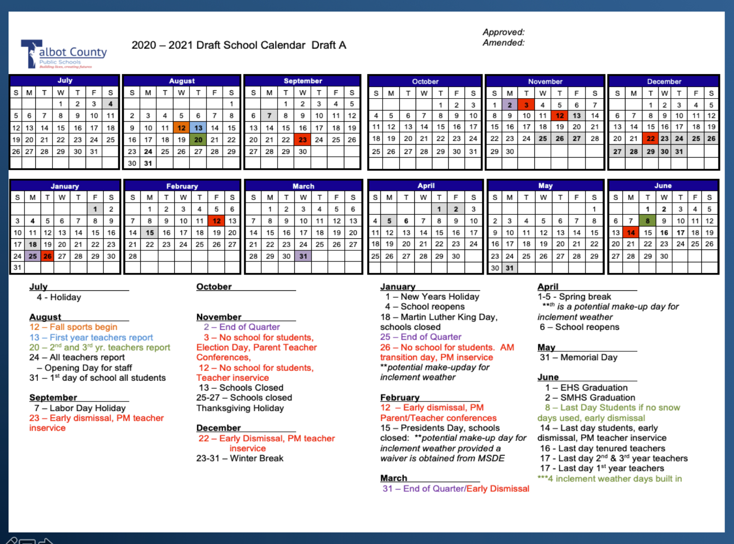 Proposed 2020-21 Calendar :: Talbot County Public Schools