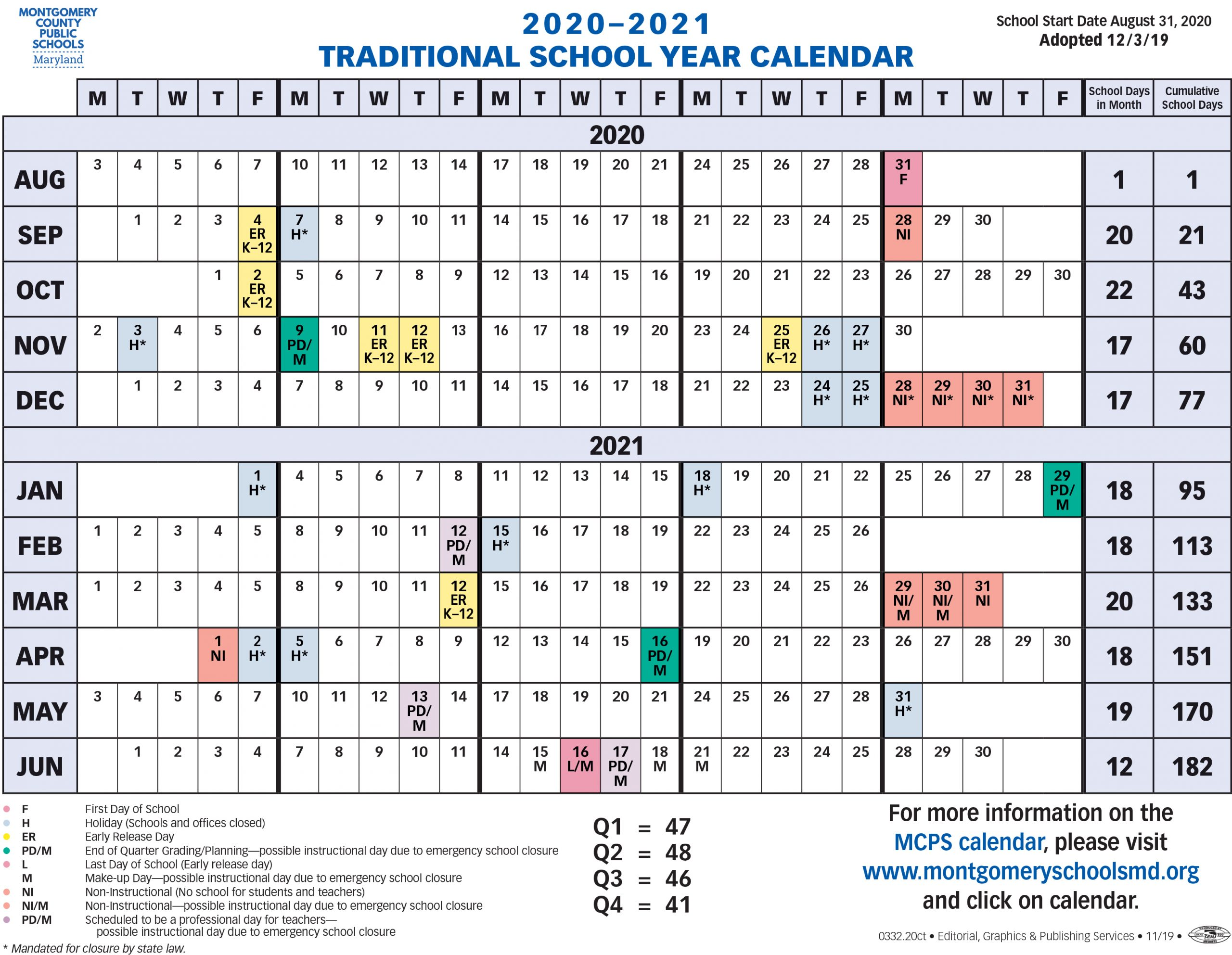 Proposed Calendar 2020-2021 - Montgomery County Public
