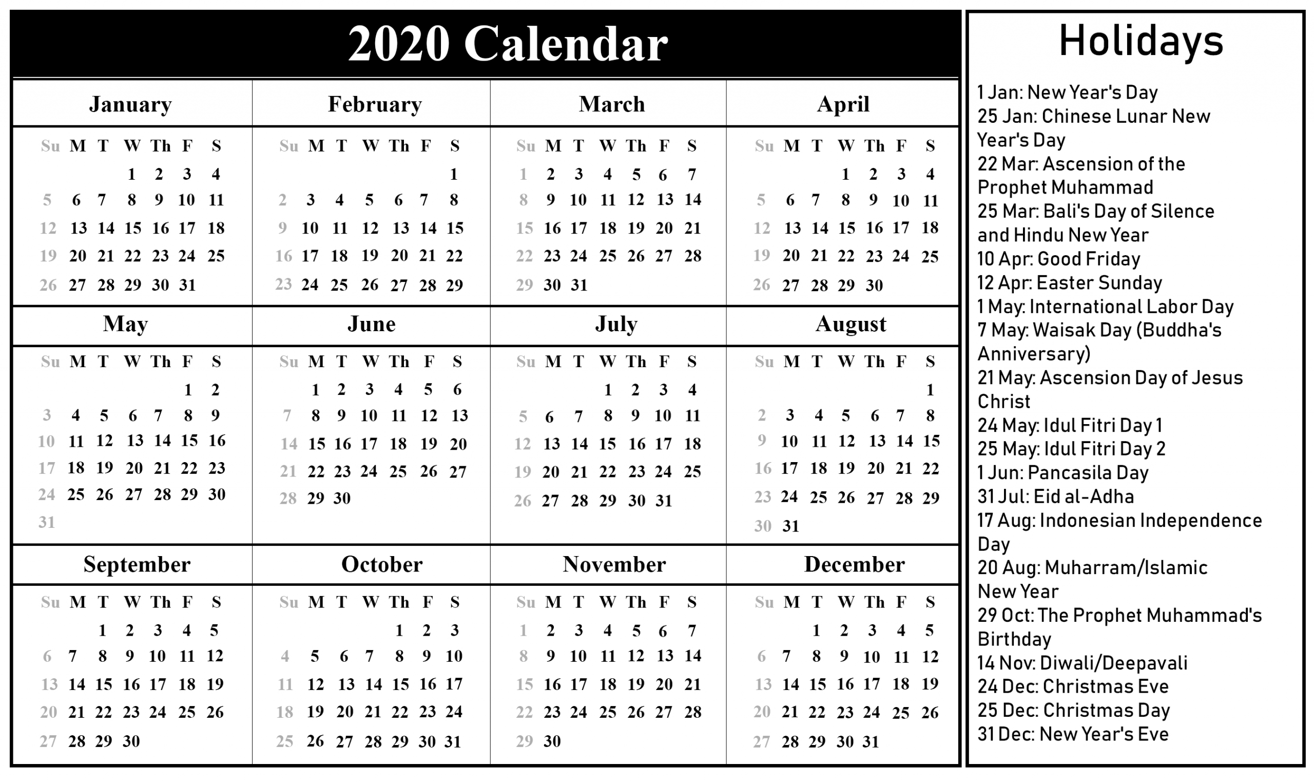 Public Holidays In Indonesia 2020 | Printable February