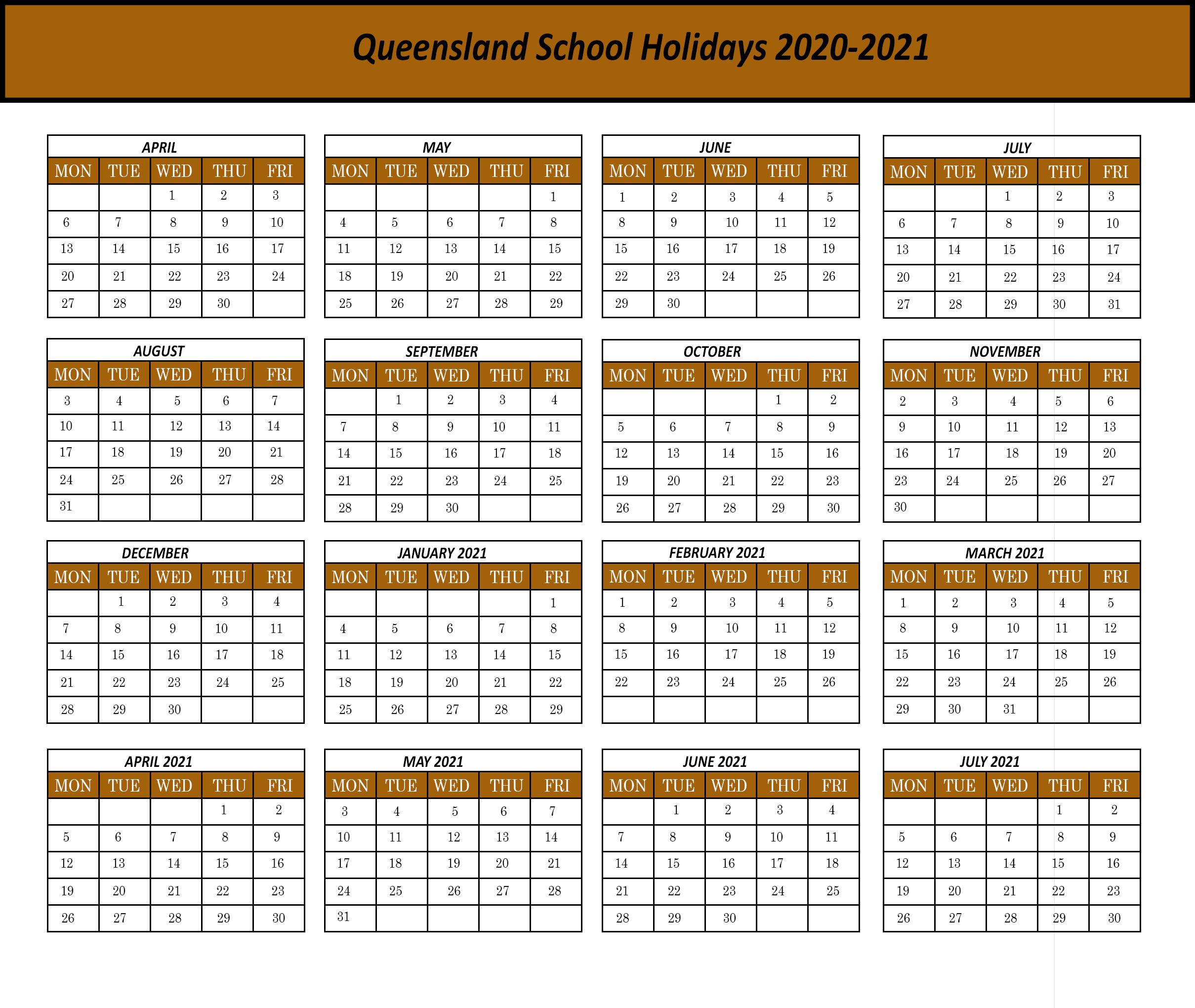 Qld-2020 | Printable Template Calendar