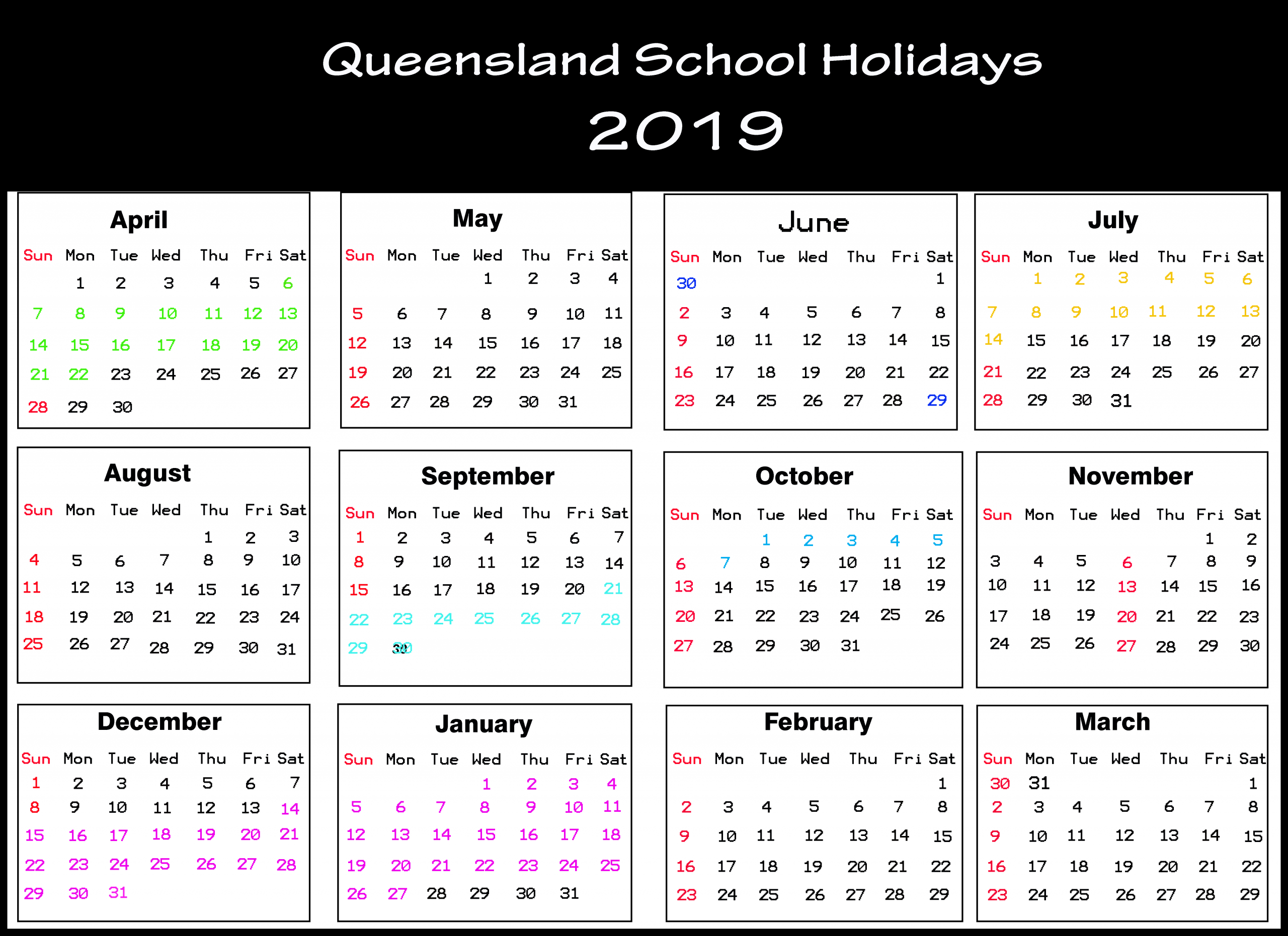 Qld School Calendar 2019 | Queensland (Qld) School Holidays