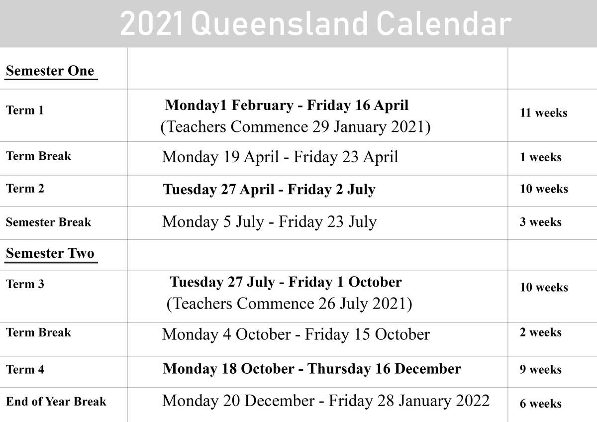 Qld School Holidays Calendar 2021 – 2022 | Qld School Holidays