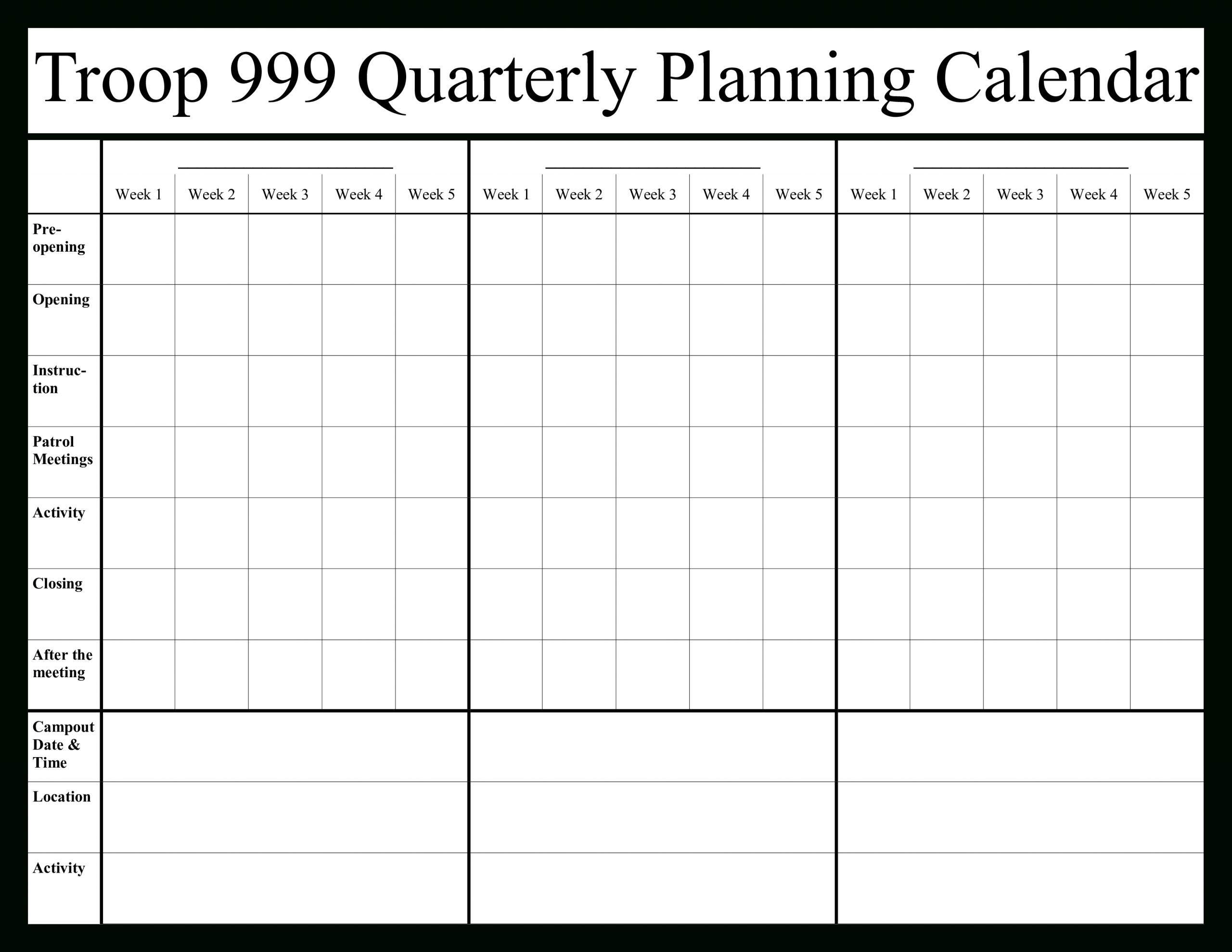 Quarterly Calendar 2020 Template - Togo.wpart.co