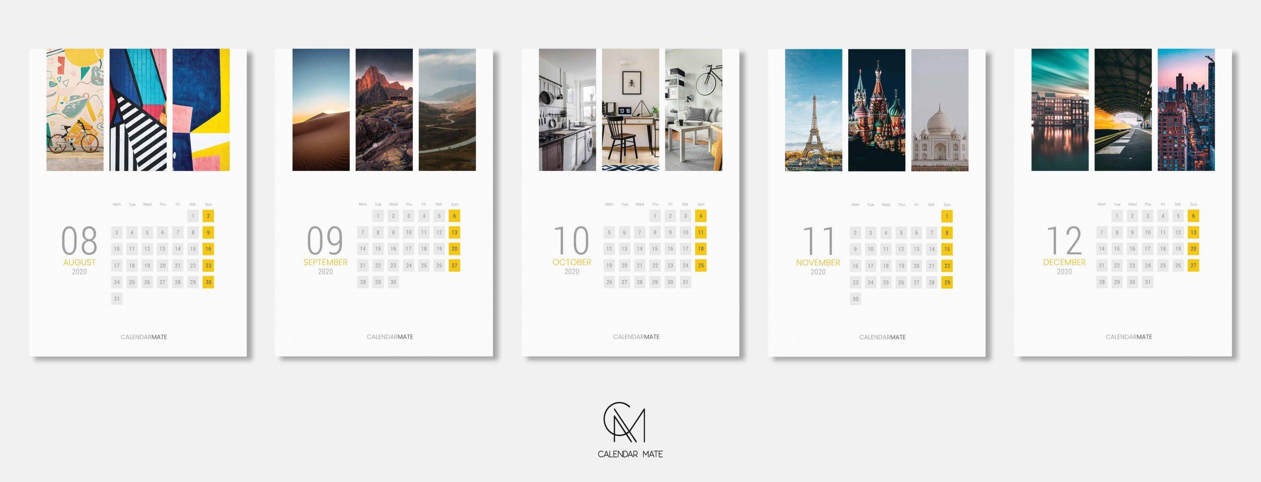 Railey: Simple Minimal Wall Calendar Design 2020 Template