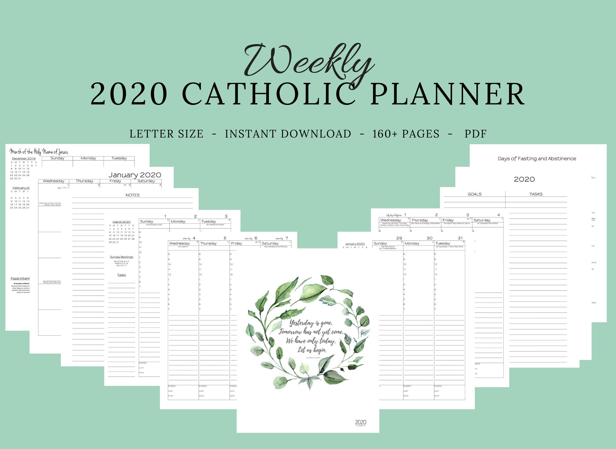 Reserved Listing* Custom 2020 Catholic Planner Weekly Printable: January  -June