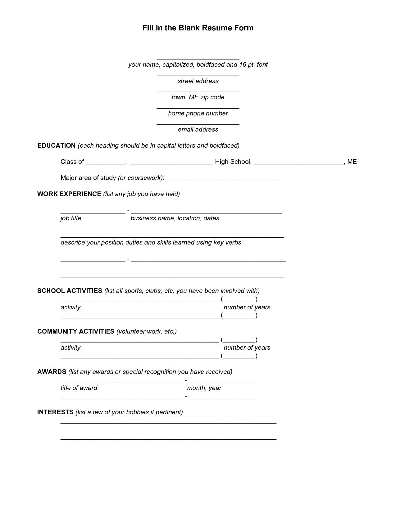 Resume Blank Forms To Fill Out | Fill In The Blank Resume