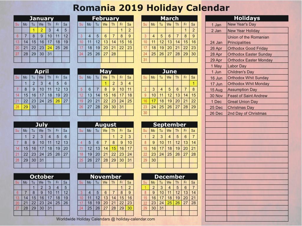 Romania 2019 / 2020 Holiday Calendar