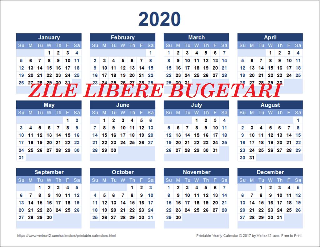 S-Au Stabilit Zilele Libere Pentru Anul 2020