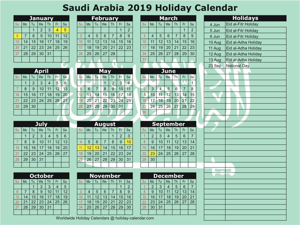 Saudi Arabia 2019 / 2020 Holiday Calendar