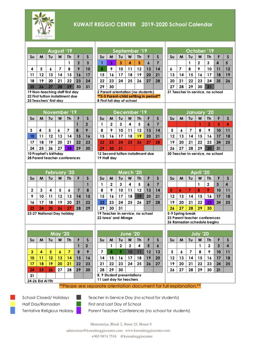 Schedule And Academic Calendars - Kuwait Reggio Center