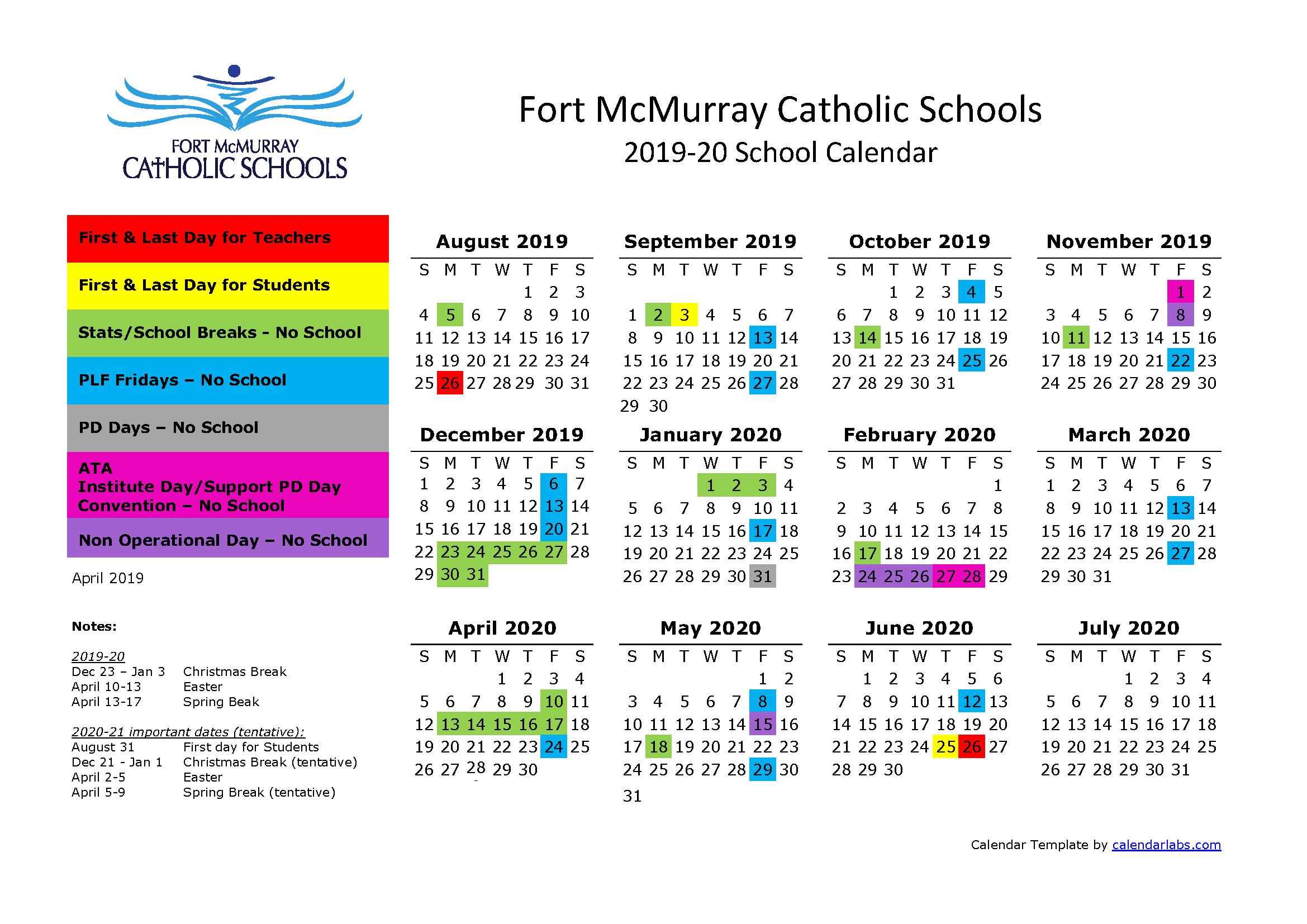 School Calendar 2019-2020 | Holy Trinity School