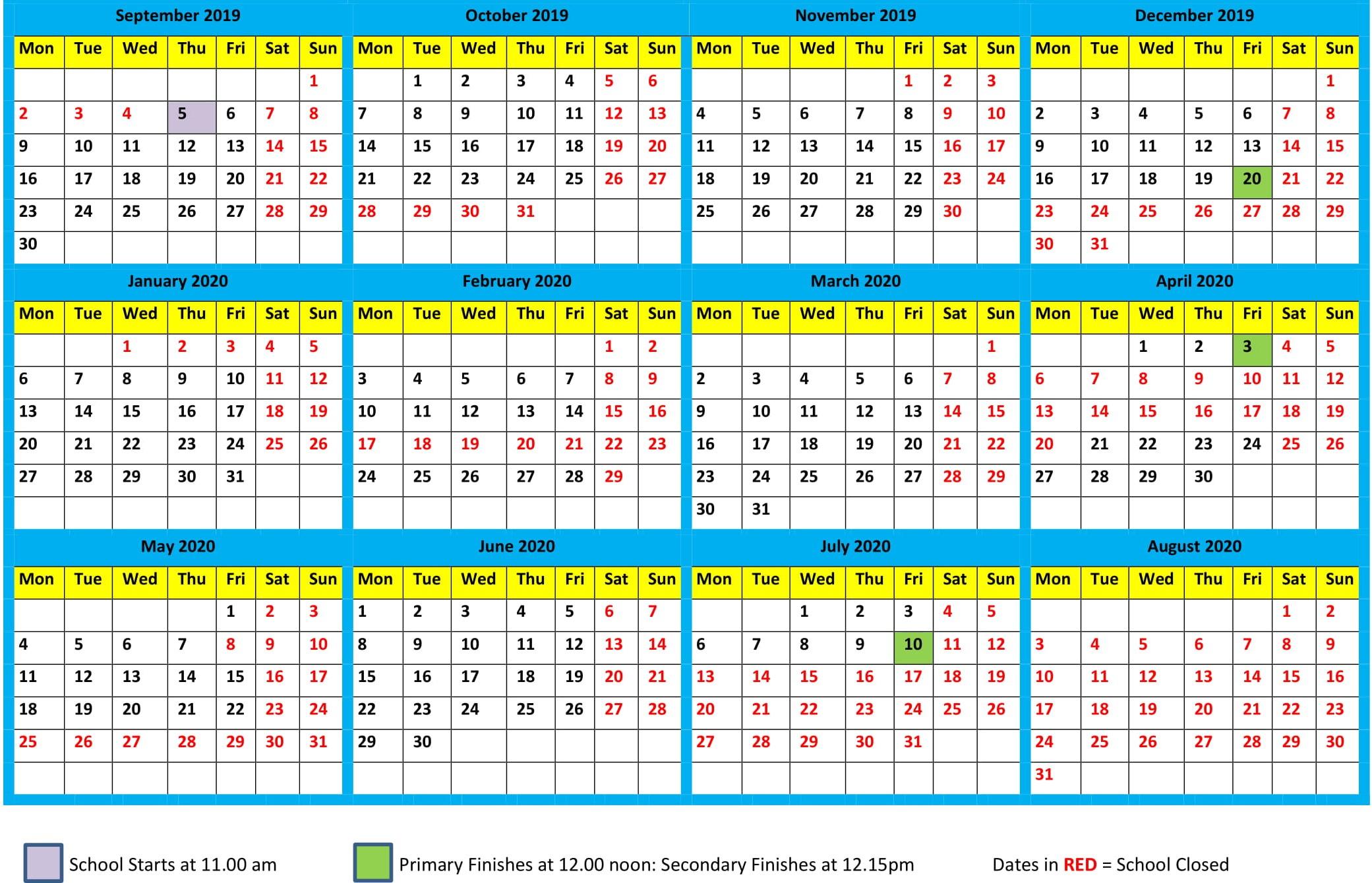 School Calendar 2019-2020 - Maharishi School