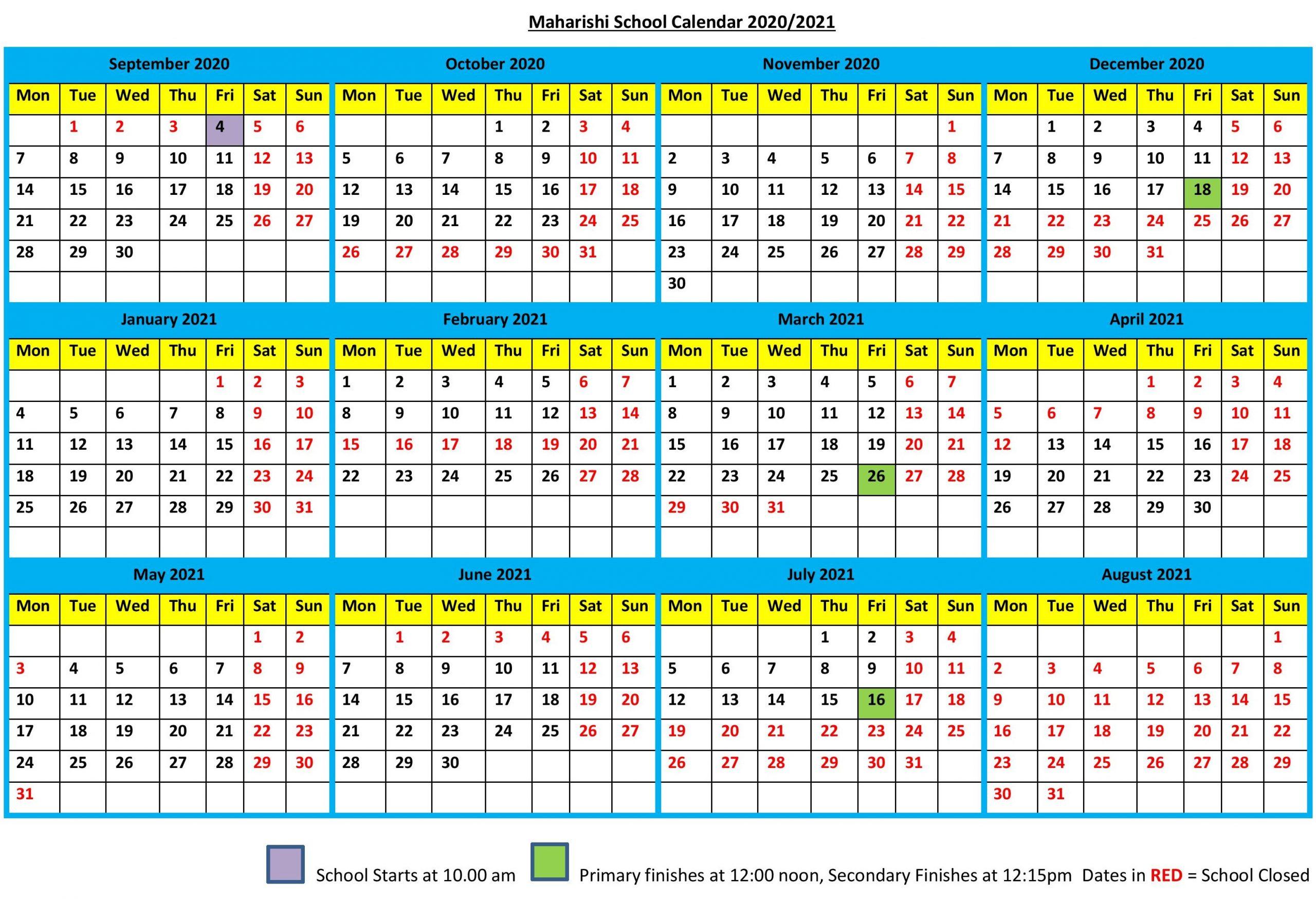 School Calendar 2020-2021 - Maharishi School