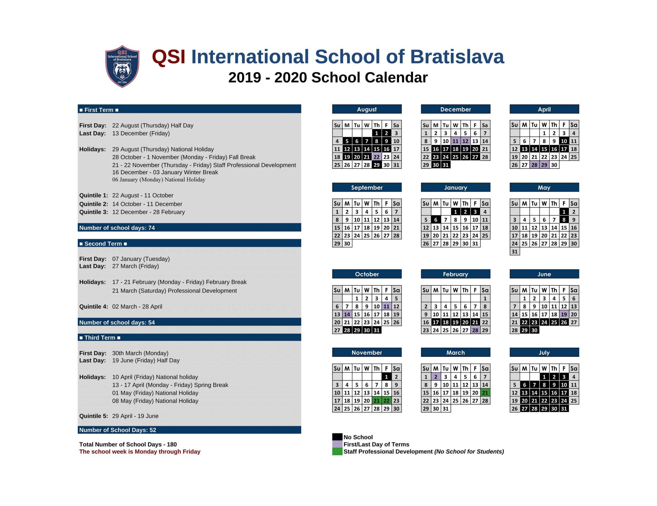School Calendar 2020-2021 | Qsi International School Of