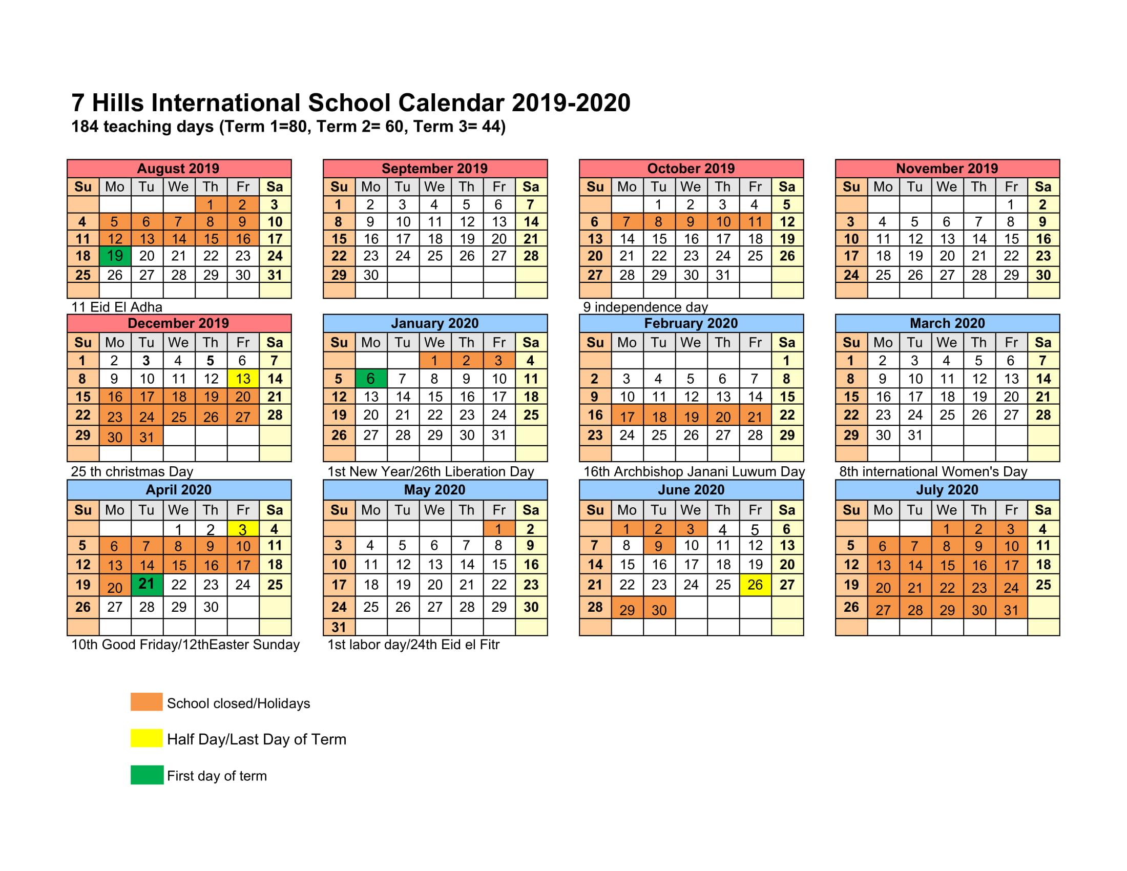 School Calendar – 7 Hills Kampala International Schools