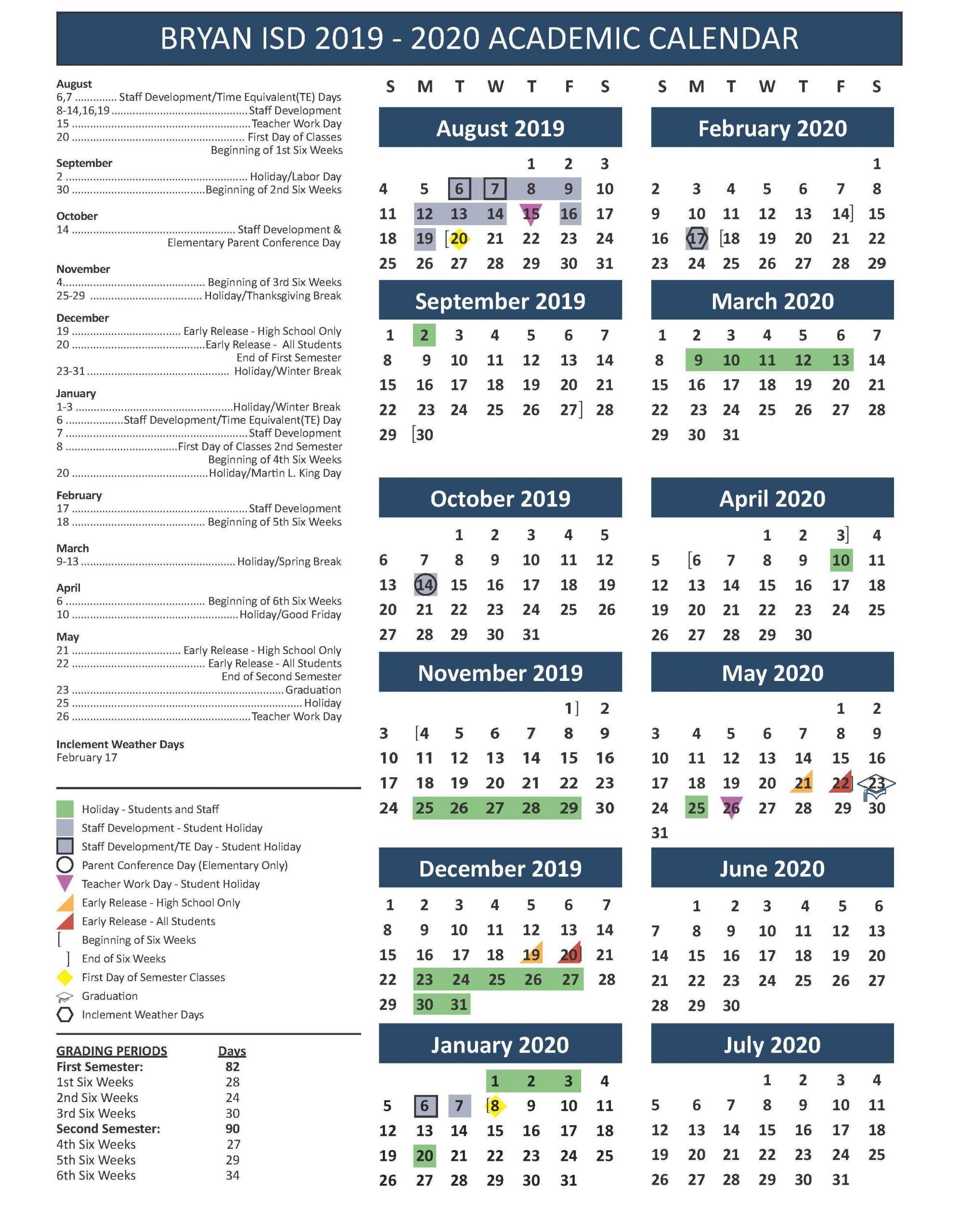School Calendar, Testing & Fine Arts/athletics Events