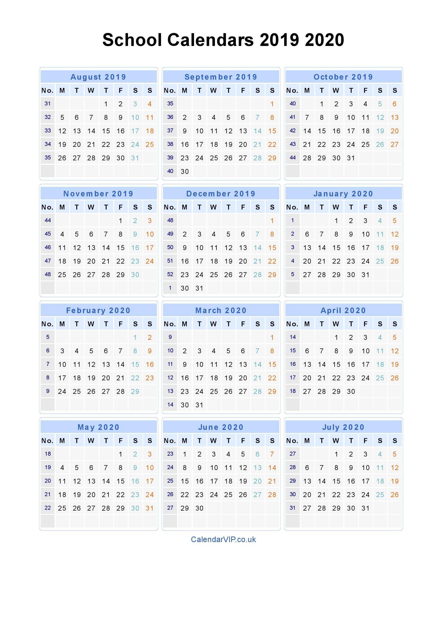 School Calendars 2019 2020 - Calendar From August 2019 To