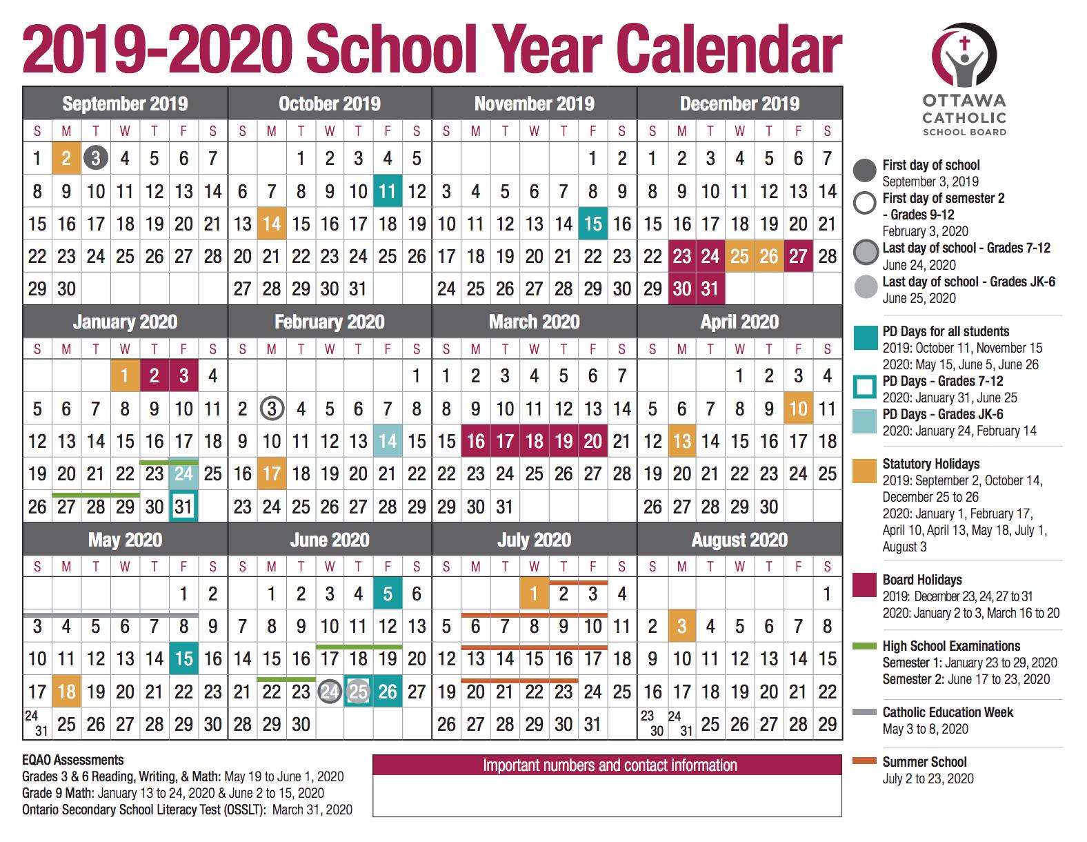 School Year Calendar From The Ocsb