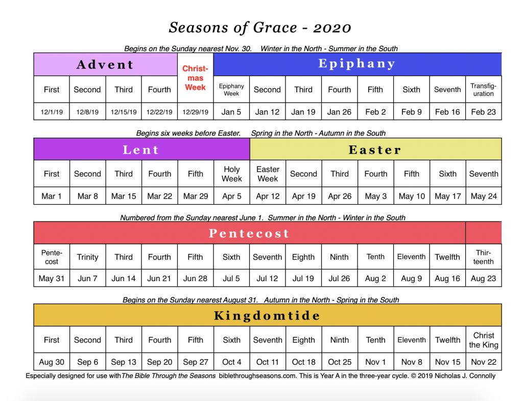 Seasons Of Grace: Liturgical Calendar – Matawan United