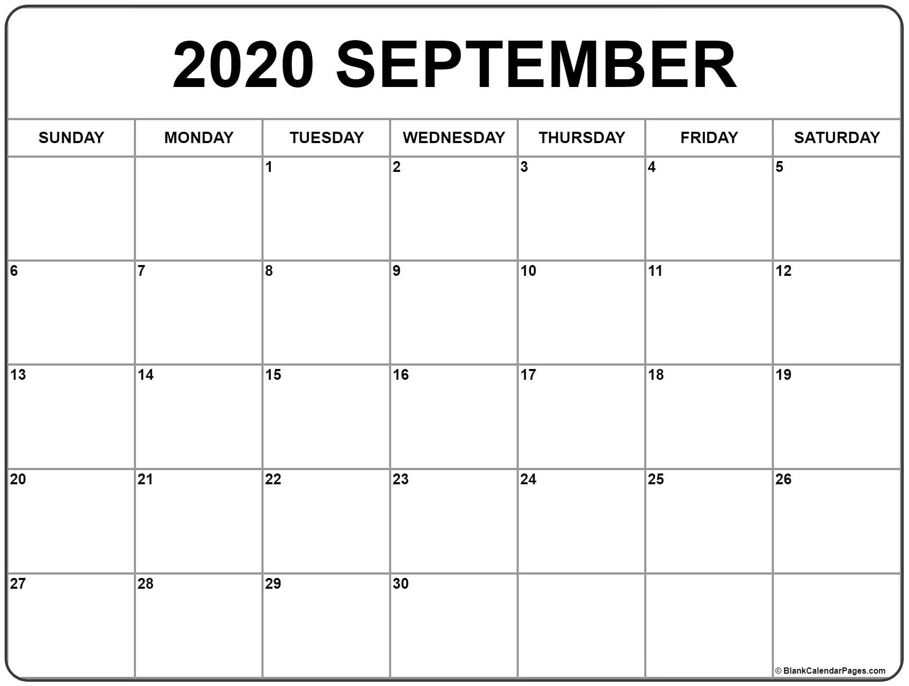 Sept Calendar 2020 Printable - Saves.wpart.co