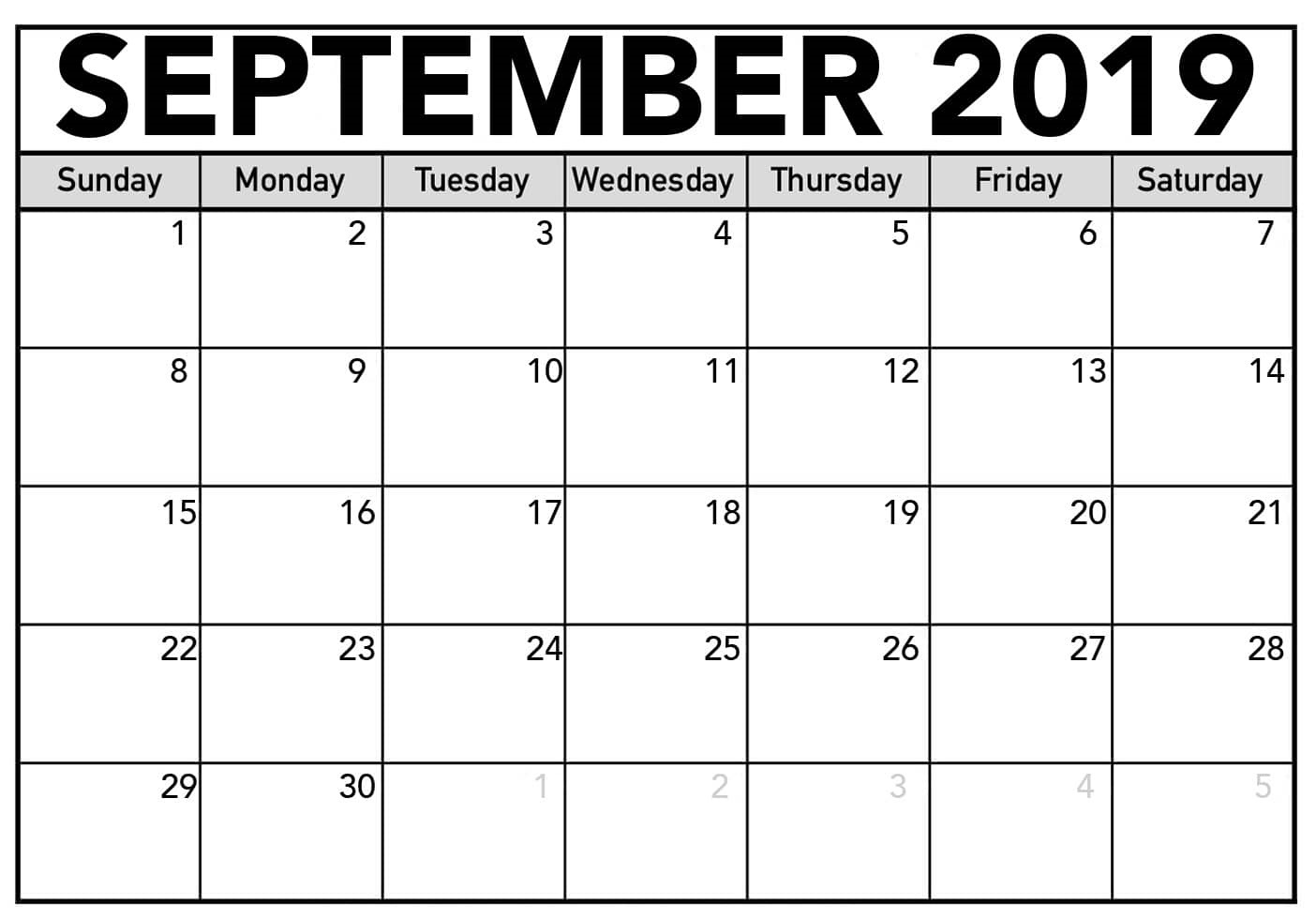 September 2019 Calendar Printable Large Print Sheet - Latest