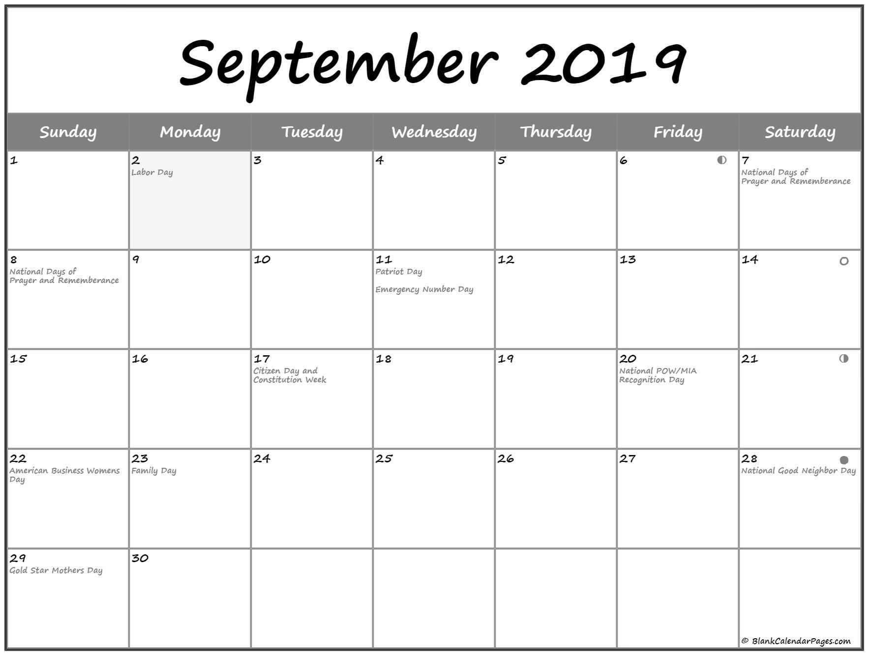 September 2019 Lunar Calendar | Moon Phase Calendar