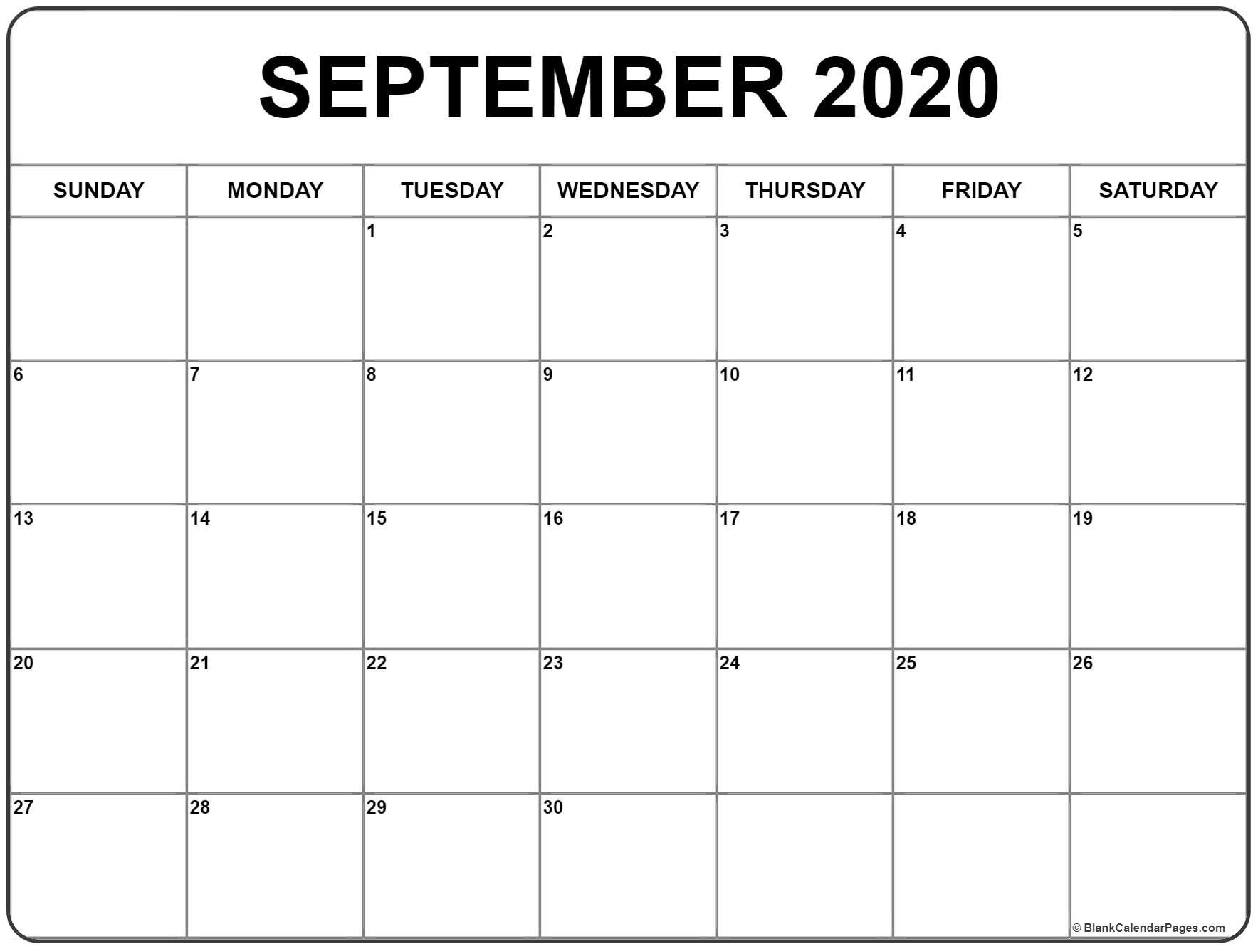 Collect Free Printable Monthly Calendar September 2020
