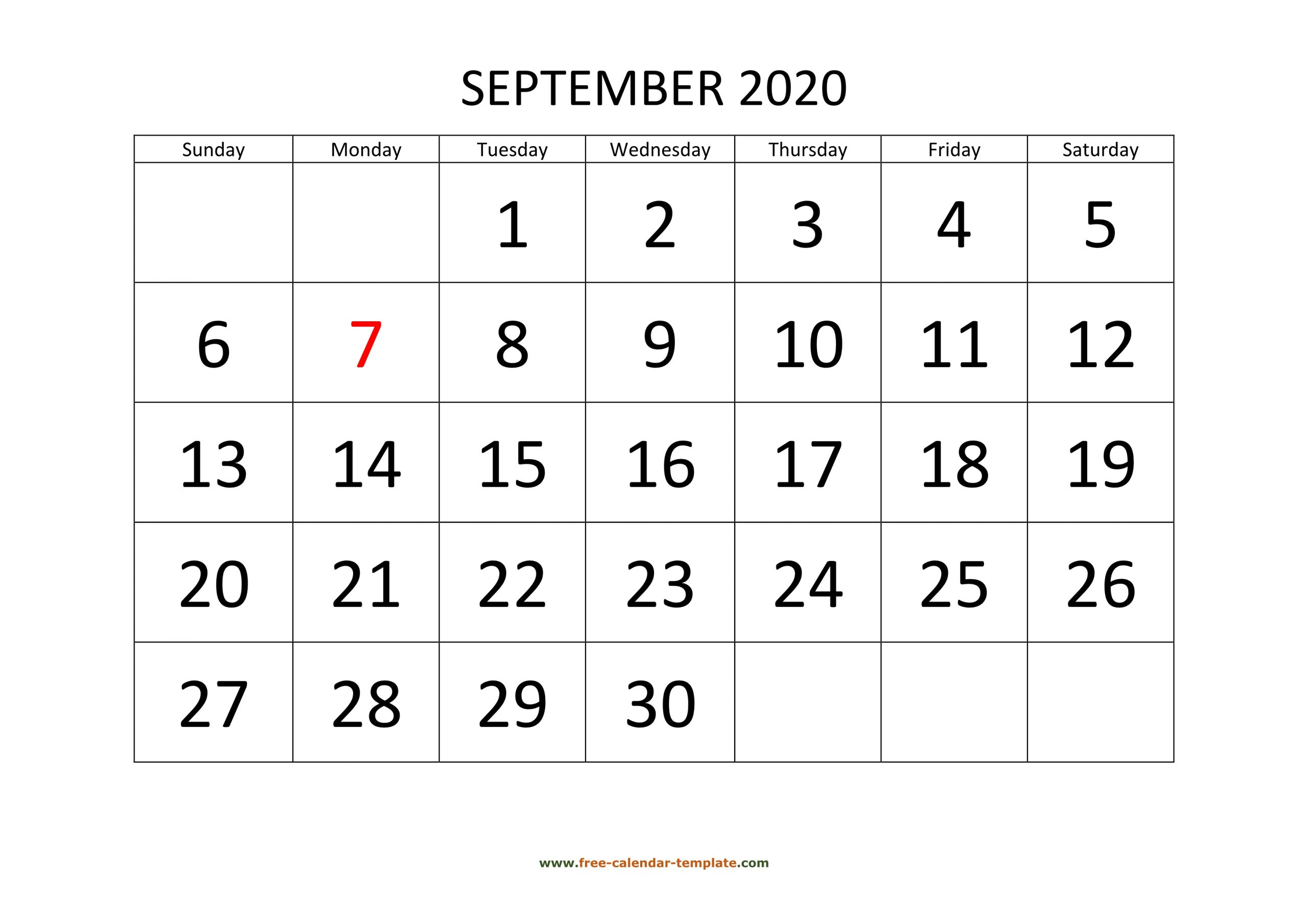 September 2020 Calendar Designed With Large Font (Horizontal