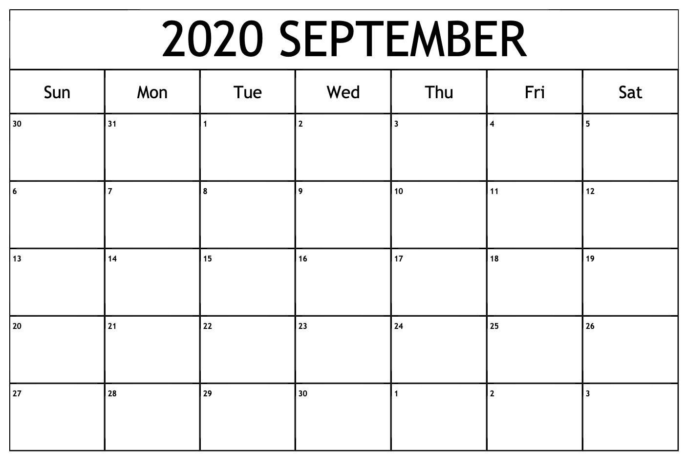 September 2020 Calendar Pdf | September Calendar, Monthly