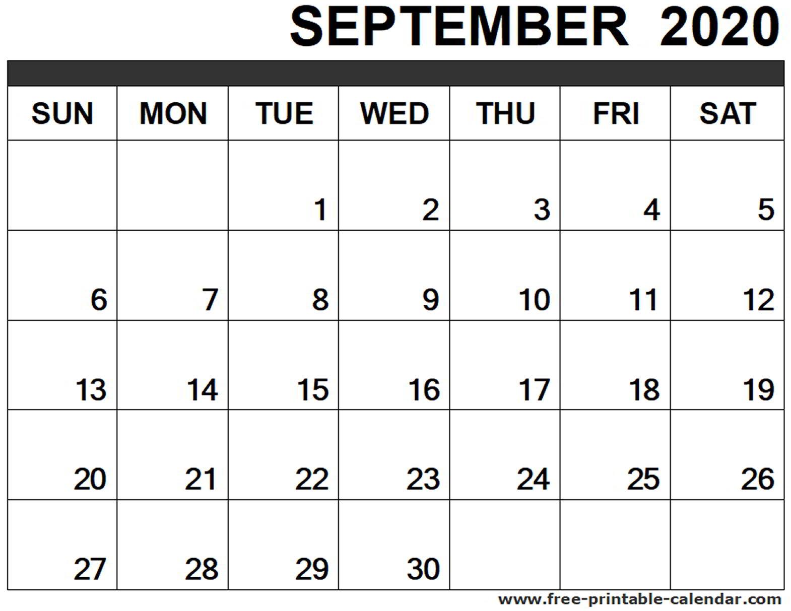 September 2020 Calendar Printable - Free-Printable-Calendar