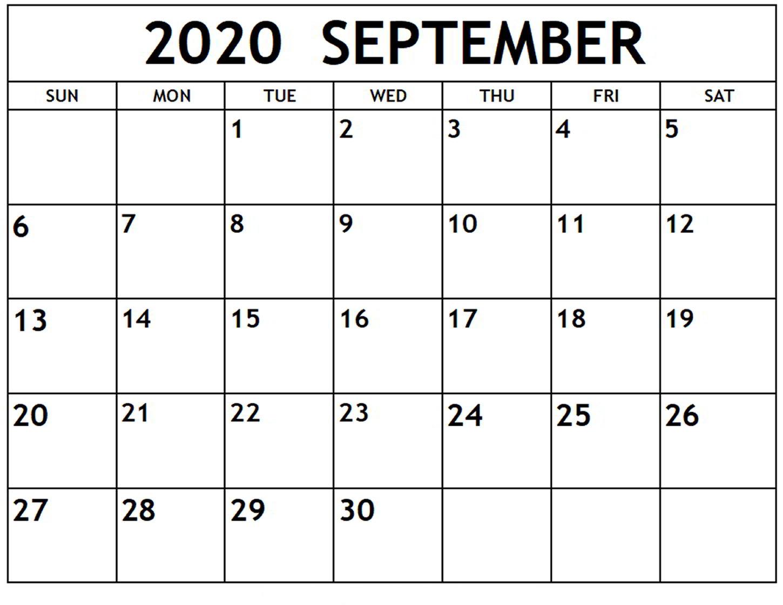 September 2020 Calendar Printable Templates With Notes | 12