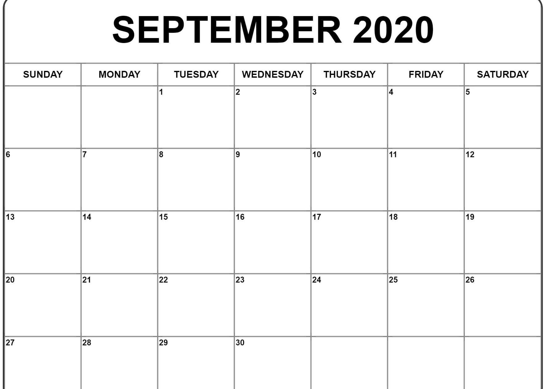 September 2020 Calendar | September Calendar, Monthly