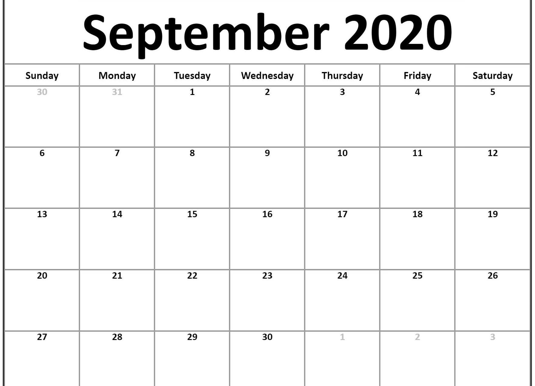September 2020 Calendar Template In 2019 | Calendar Word