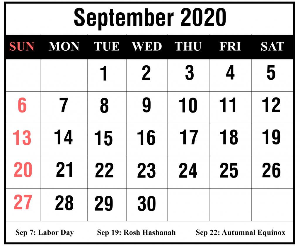 September 2020 Calendar With Holidays | Best Printable Calendar