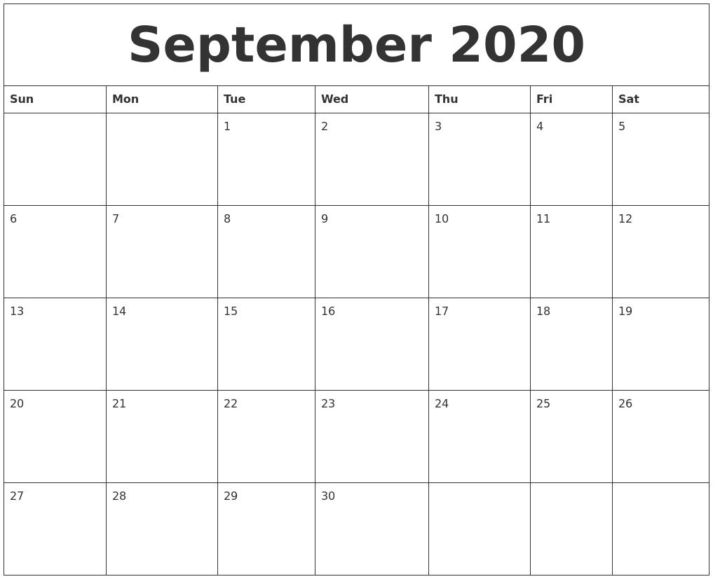 September 2020 Free Printable Calendar Templates