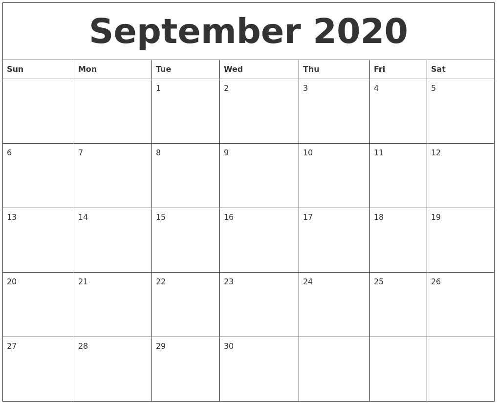 September 2020 Free Printable Monthly Calendar
