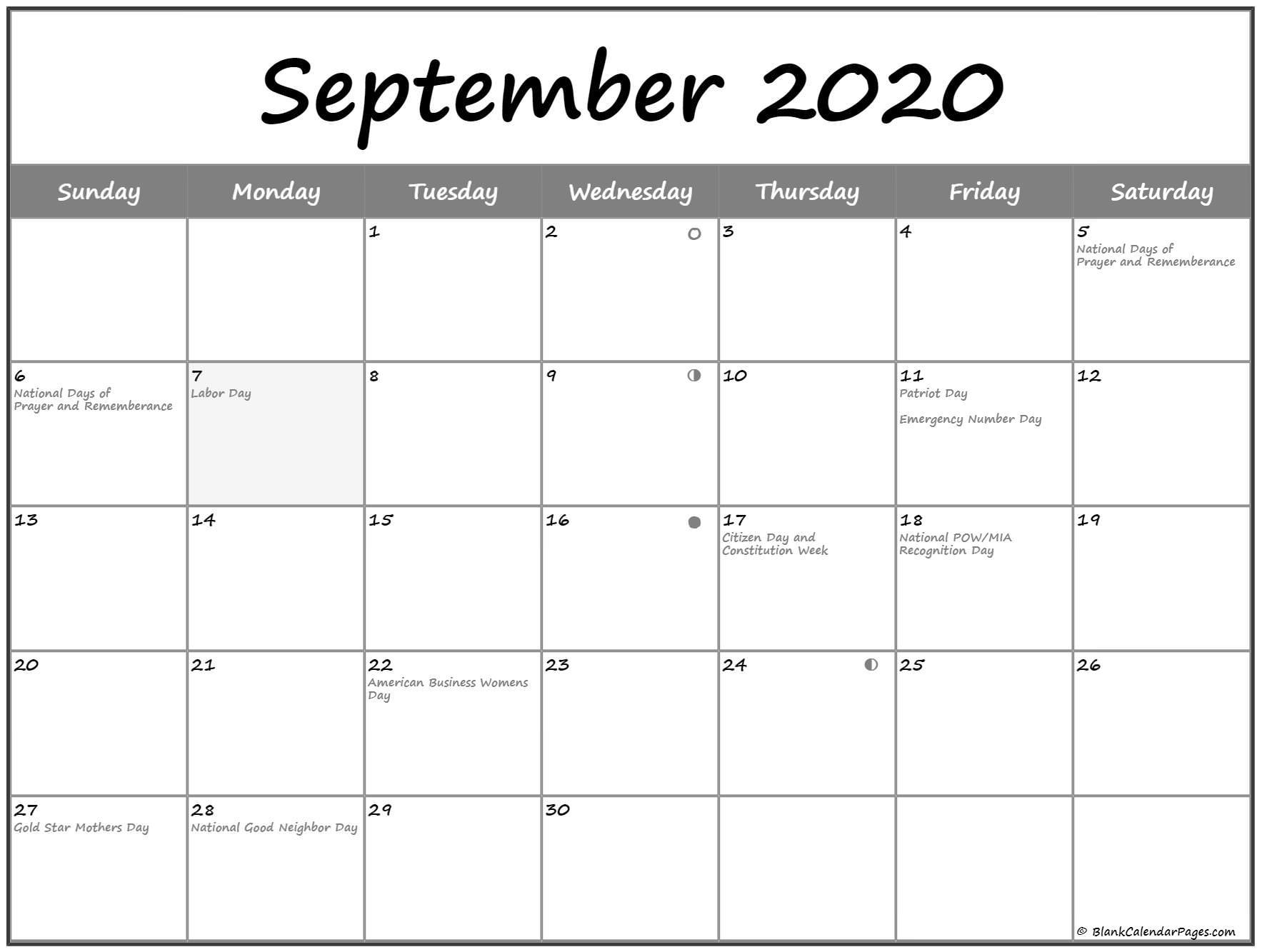 September 2020 Lunar Calendar   Moon Phase Calendar