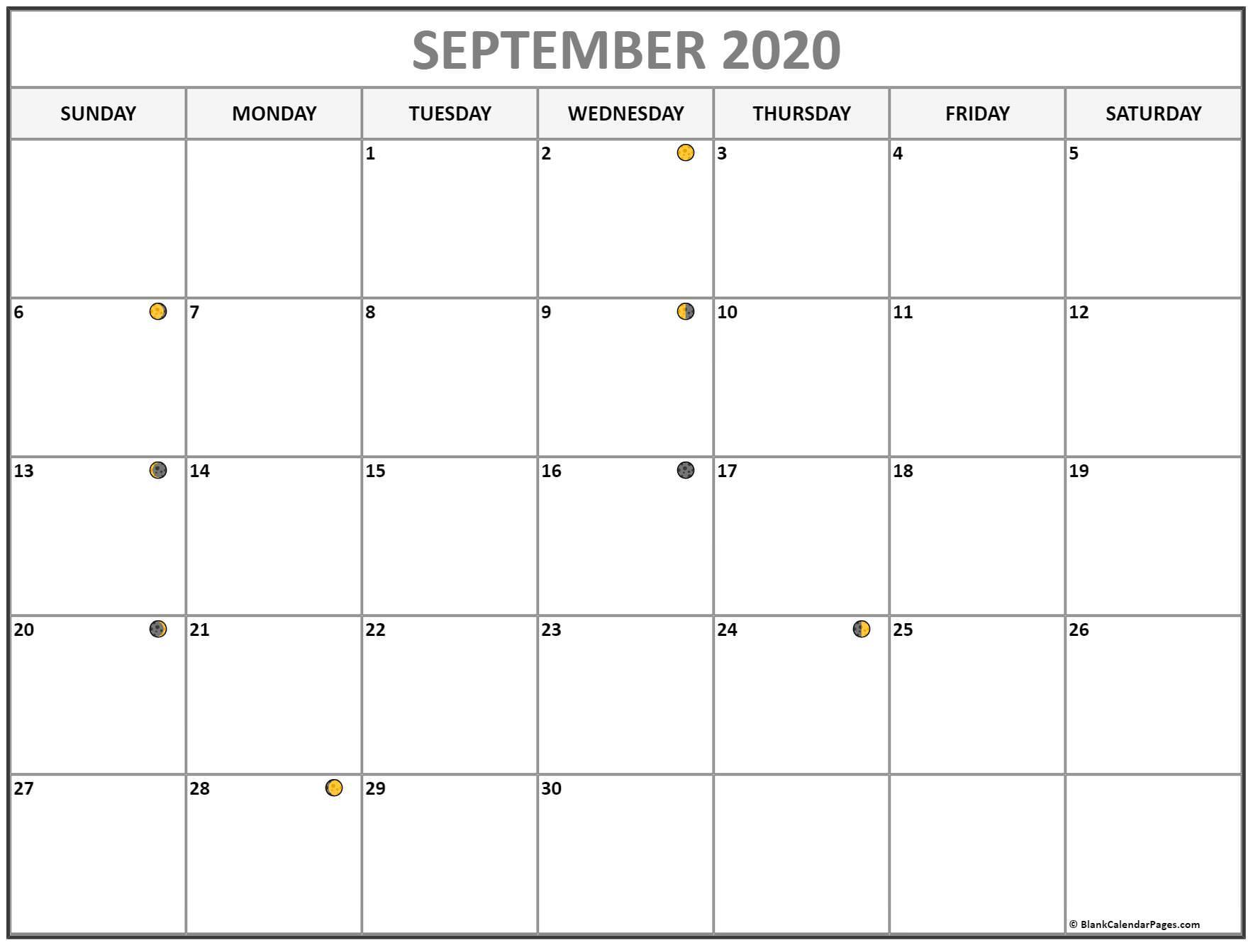 September 2020 Lunar Calendar | Moon Phase Calendar