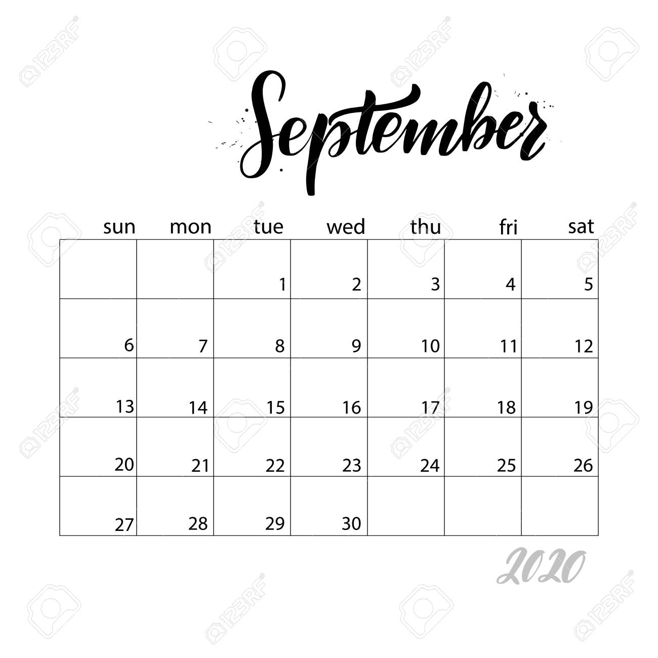 September. Monthly Calendar For 2020 Year. Handwritten Modern..