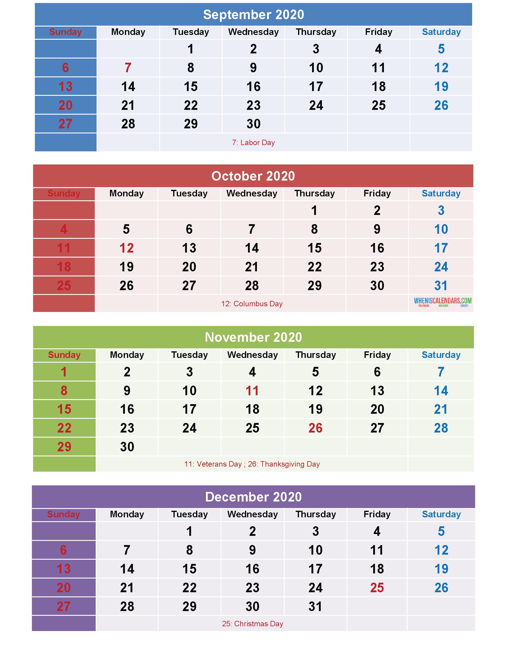 September October November December 2020 Calendar Printable