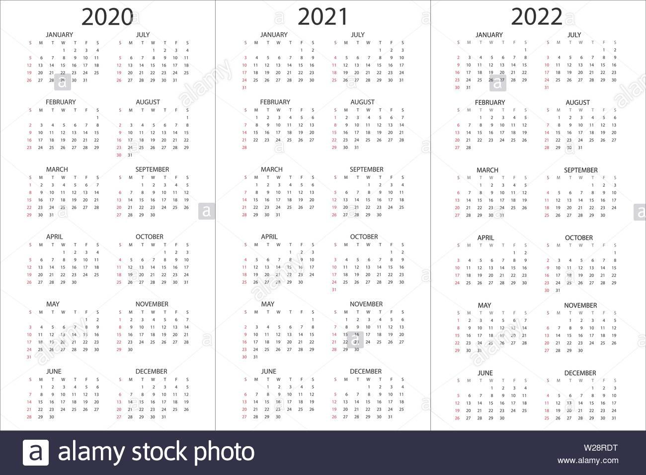 Set Of Calendars 2020, 2021, 2022 Years, Simple Design