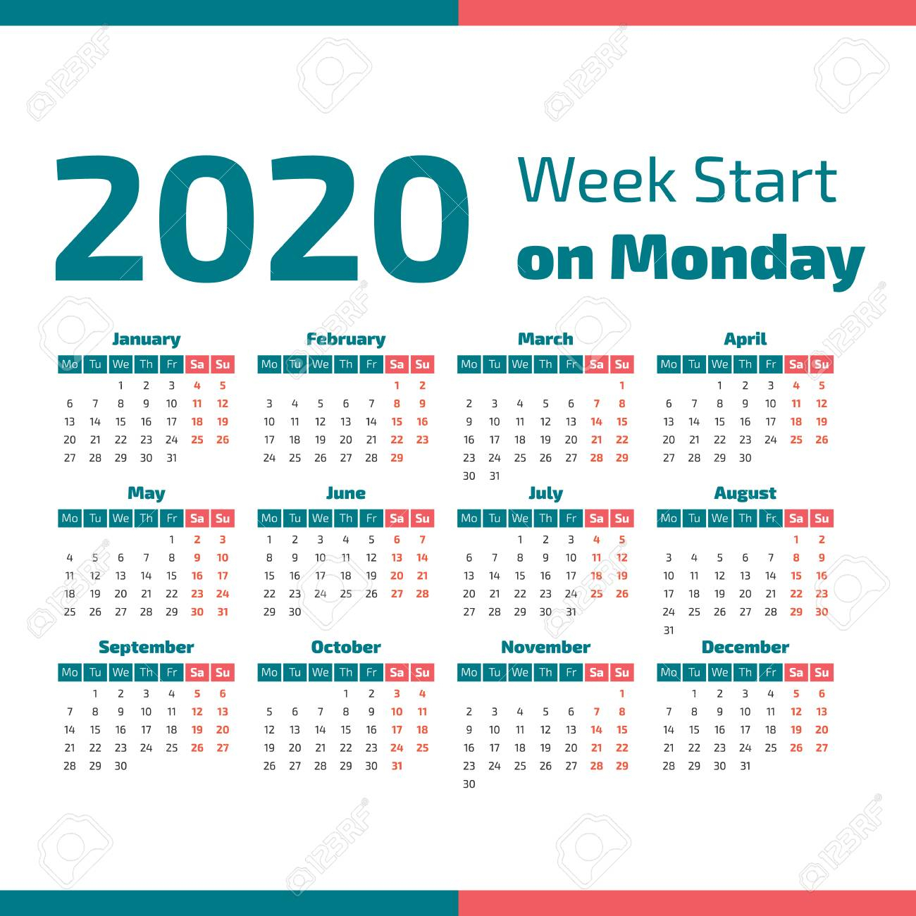 Simple 2020 Year Calendar, Week Starts On Monday Vector Illustration