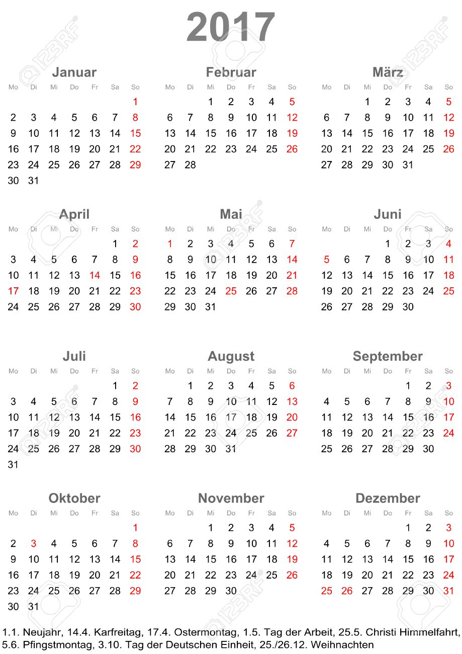 Simple Calendar 2017 - One Year At A Glance - Starts Monday With..
