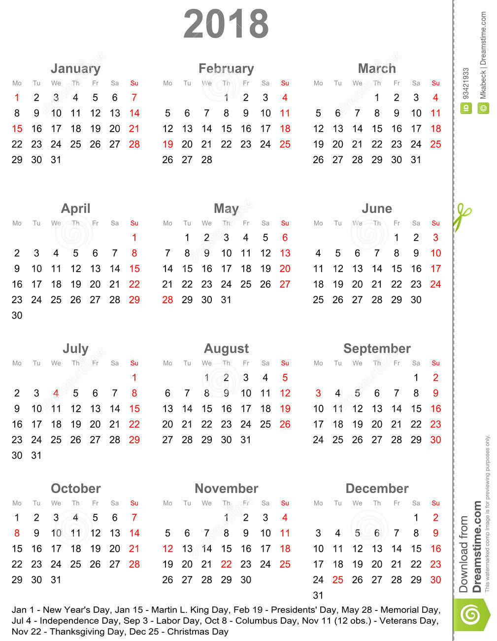 Simple Calendar 2018 With Public Holidays For Usa Stock